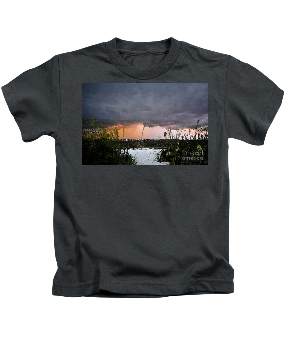 Waterspout Kids T-Shirt featuring the painting Waterspout Over Pass A Grill by David Lee Thompson