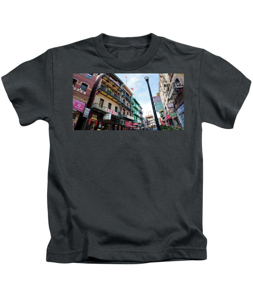 Chinatown Kids T-Shirt featuring the photograph Waverly Place Panorama by Noel Baebler