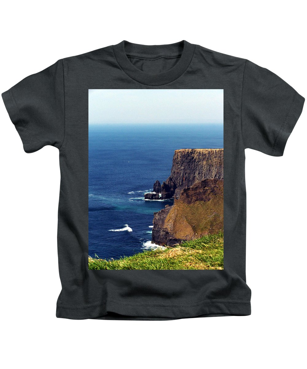 Irish Kids T-Shirt featuring the photograph Waves Crashing At Cliffs Of Moher Ireland by Teresa Mucha
