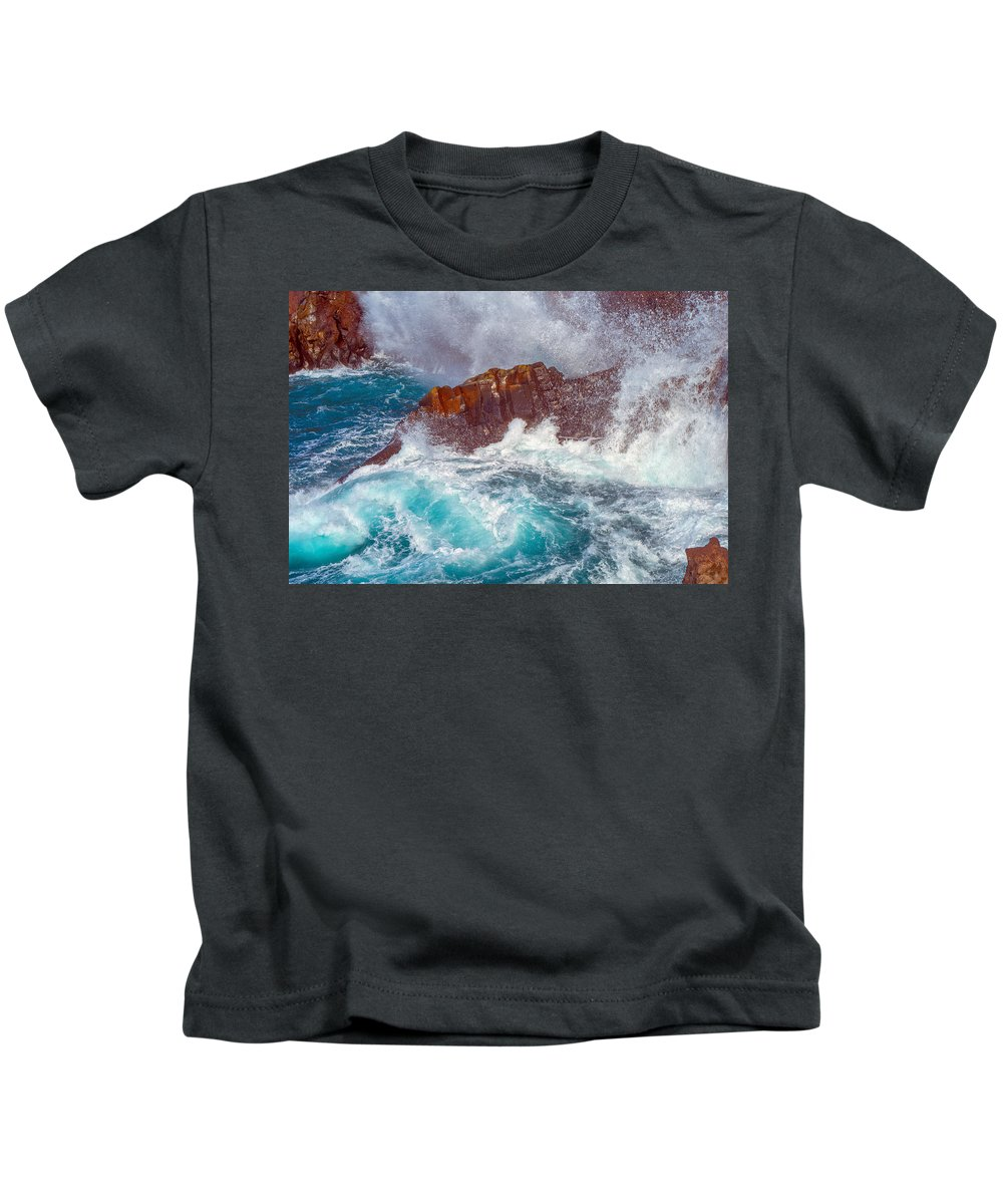 Canary Archipelago Kids T-Shirt featuring the photograph Waves On Lava Rocks by Jean-luc Bohin