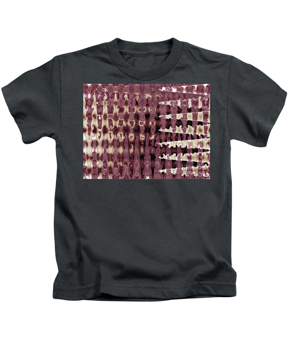Abstract Kids T-Shirt featuring the digital art Wax Sine by Ron Bissett