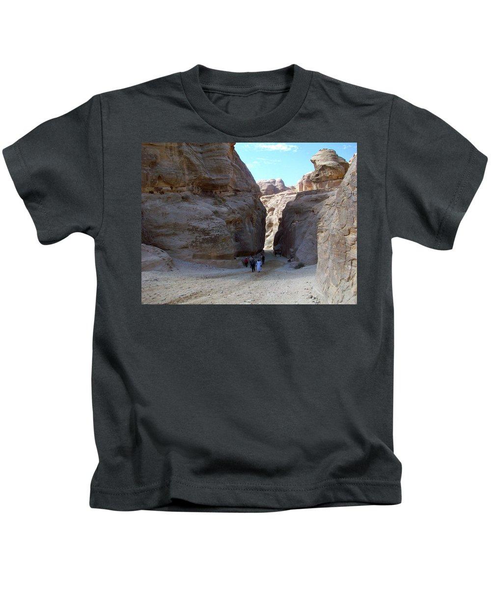 Petra Kids T-Shirt featuring the photograph Way To Petra by Munir Alawi