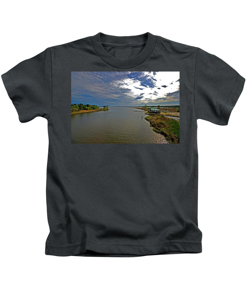 Weeks Bay Kids T-Shirt featuring the painting Weeks Bay At Sunset by Michael Thomas