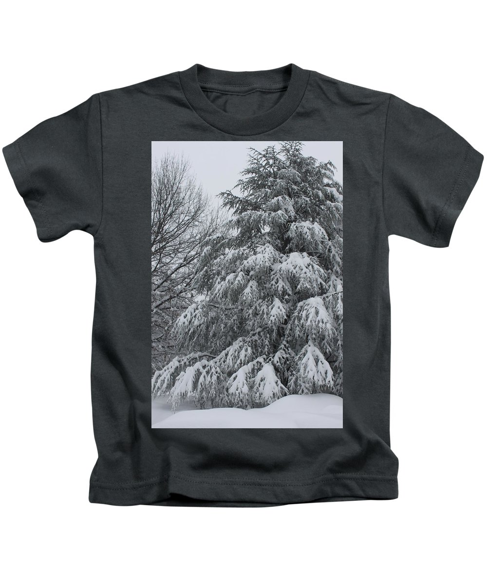 Snow Kids T-Shirt featuring the photograph Weighed Down by Lauri Novak