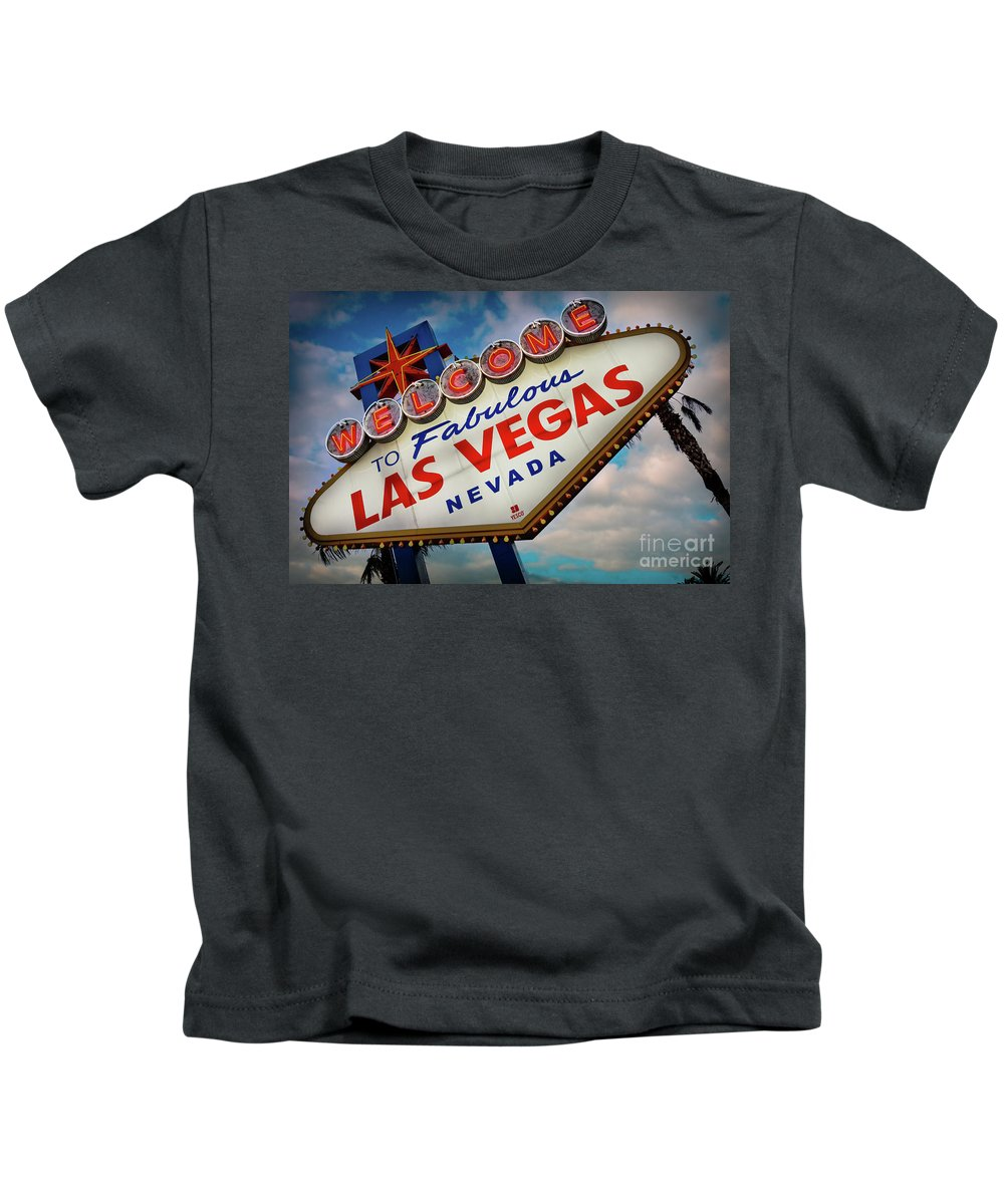 Las Vegas Kids T-Shirt featuring the photograph Welcome To Fabulous Las Vegas by Doug Sturgess
