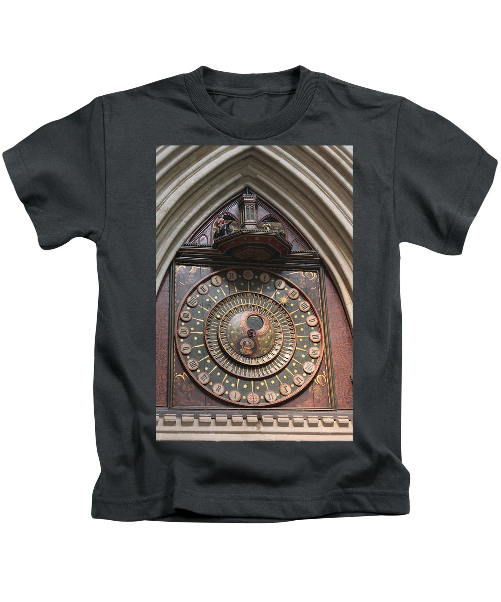 Wells Kids T-Shirt featuring the photograph Wells Cathedral Astronomical Clock by Lauri Novak