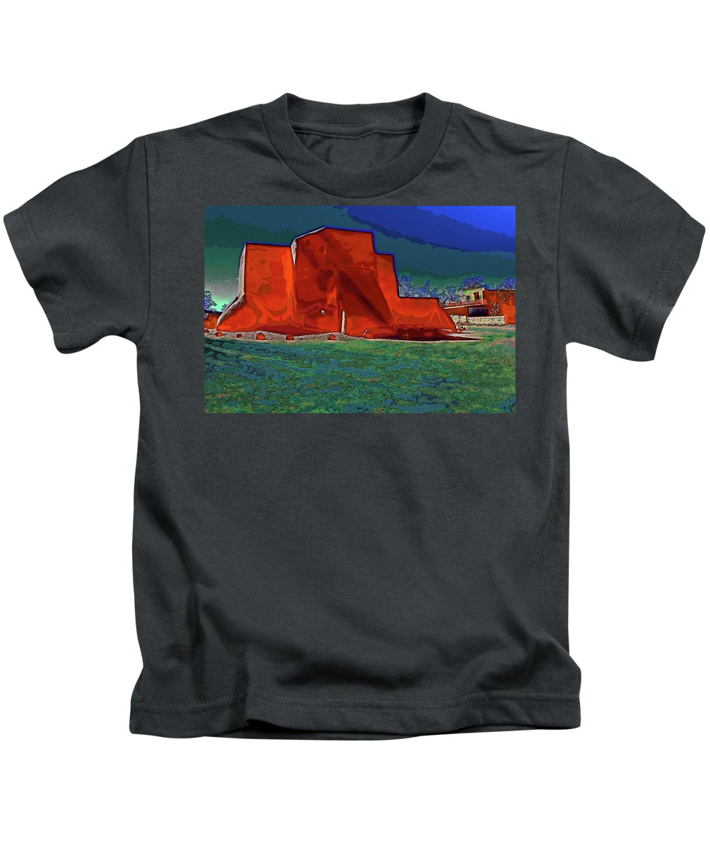 Santa Kids T-Shirt featuring the digital art West View Of Church In Ranchos by Charles Muhle