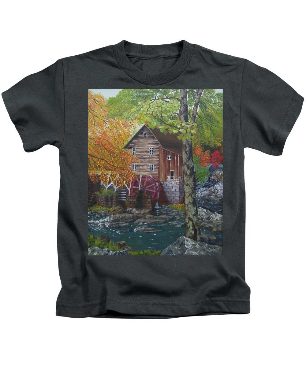 West Virginia Grist Mill Kids T-Shirt featuring the painting West Virginia Wonder by Cathy Shepard