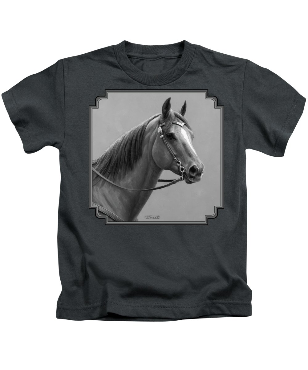 Horse Kids T-Shirt featuring the painting Western Quarter Horse Black And White by Crista Forest