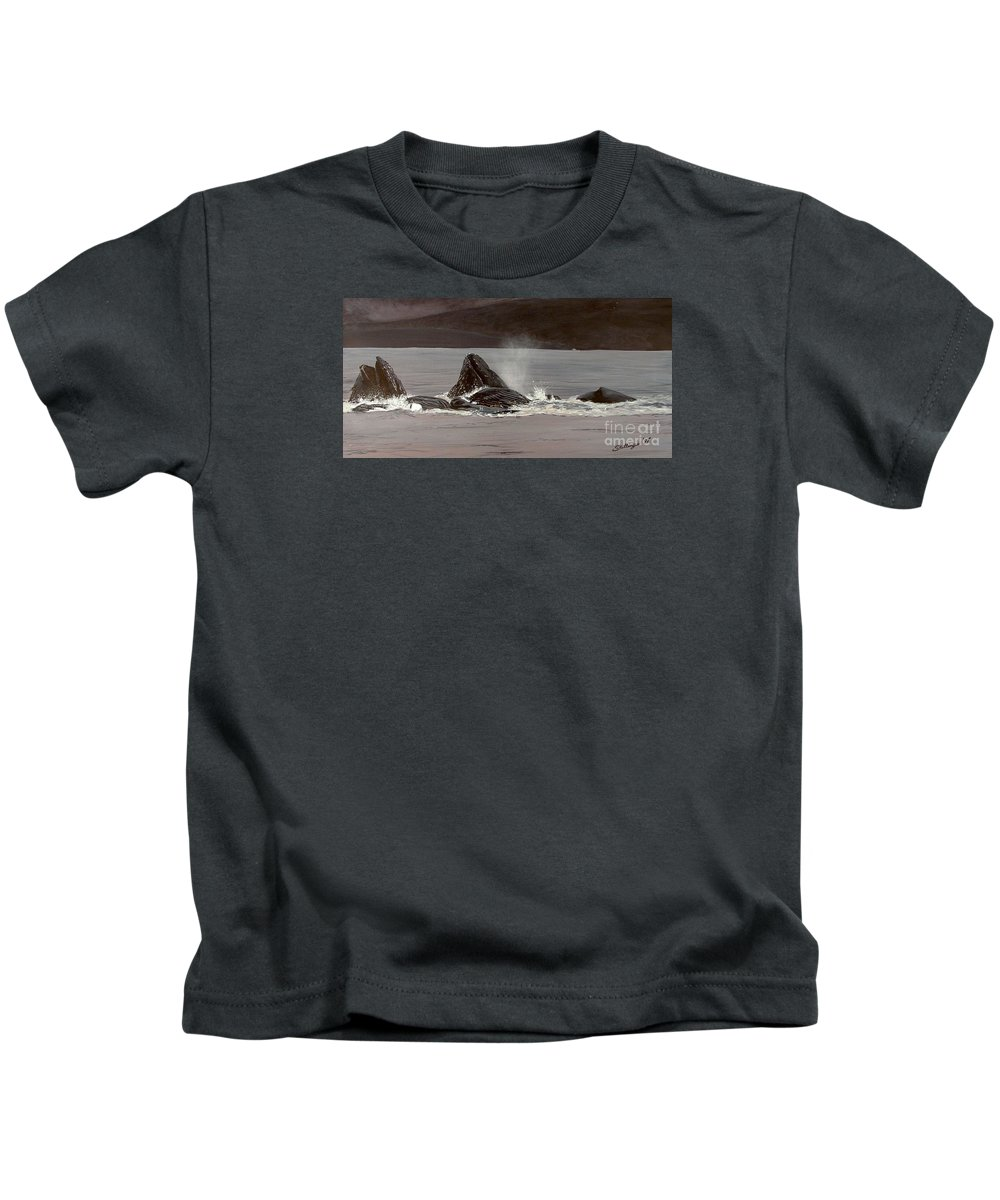 Whale Kids T-Shirt featuring the painting Whales Feeding by Shawn Stallings