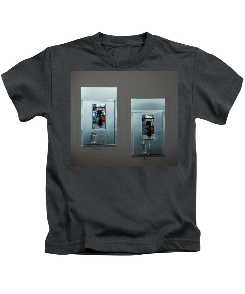 Pay Phones Kids T-Shirt featuring the photograph What Is That Dad .... Why It Is A Pay Phone Son by Rob Hans