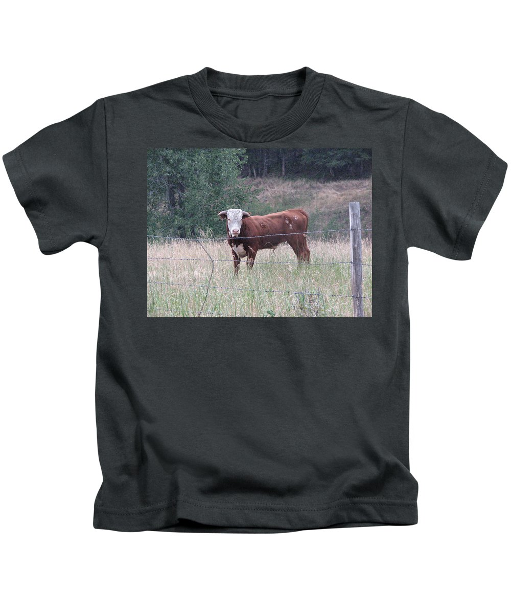 Bull Kids T-Shirt featuring the photograph Whatchu Lookin At by Stacey May