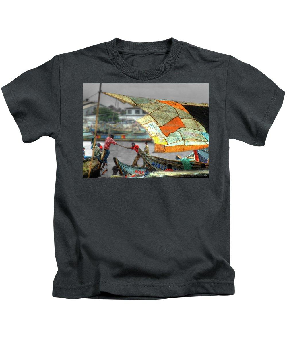Ghana Kids T-Shirt featuring the photograph Whatever It Takes - Makeshift Sail At Tema Harbor by Wayne King