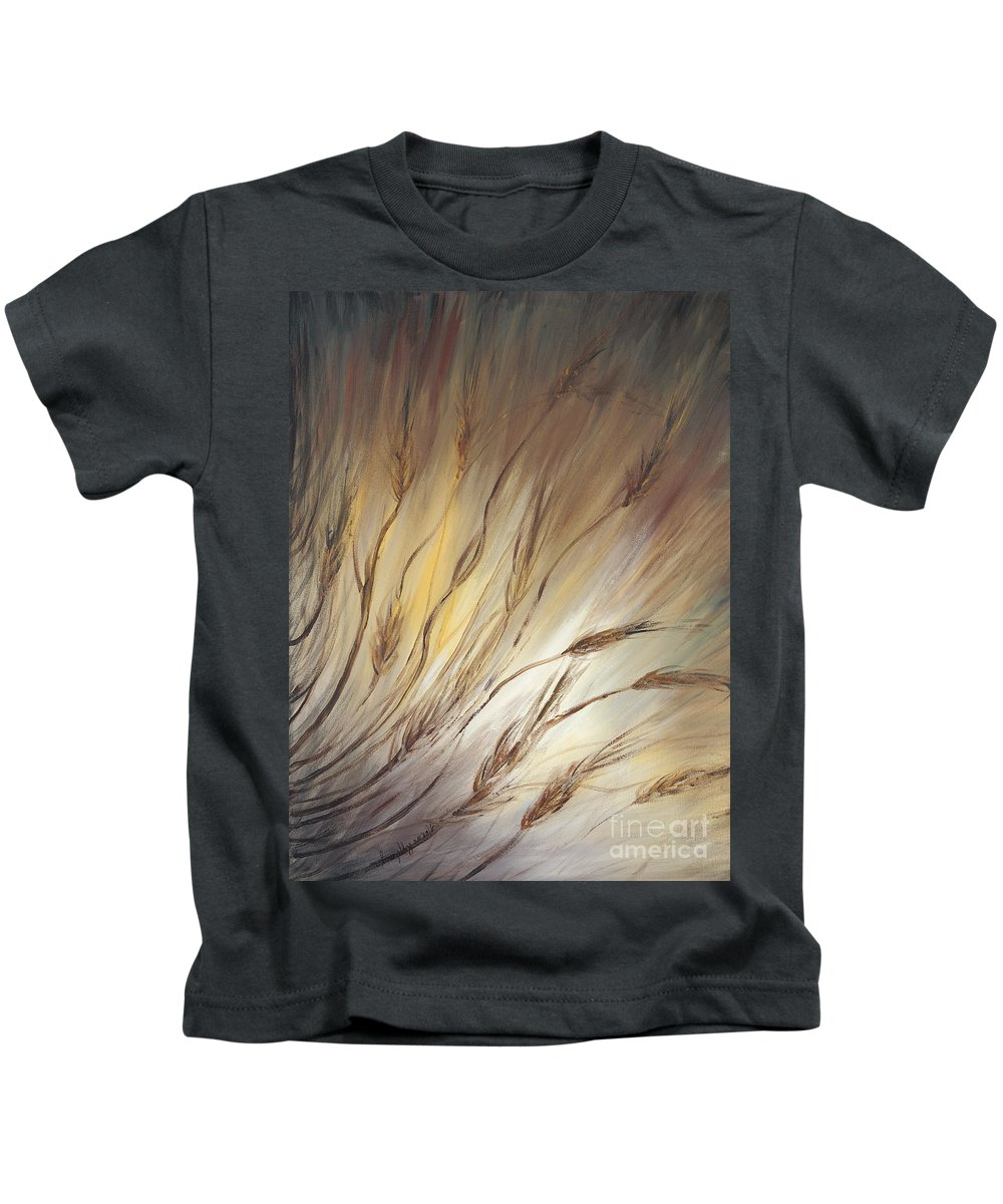 Wheat Kids T-Shirt featuring the painting Wheat In The Wind by Nadine Rippelmeyer