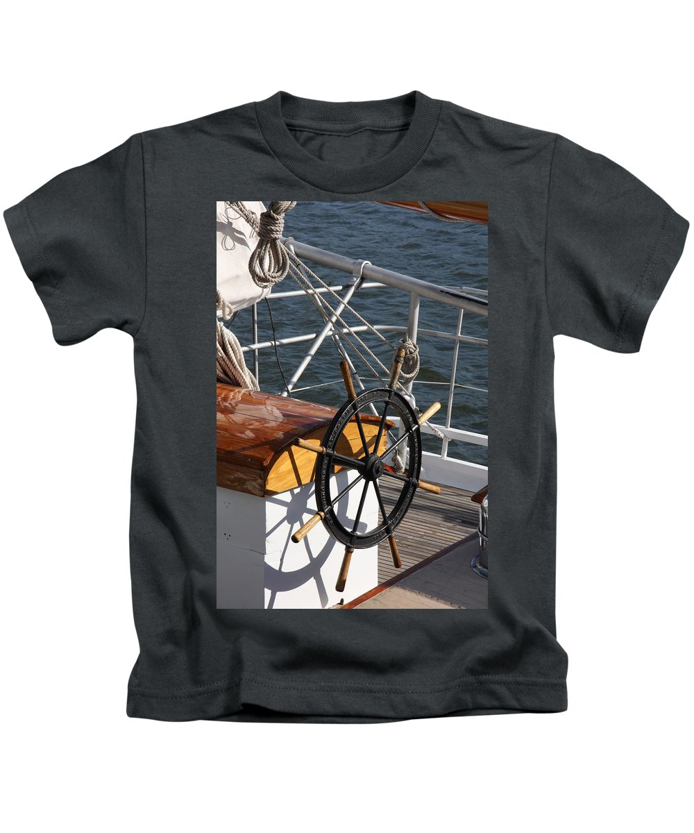 Wheel Kids T-Shirt featuring the photograph Sailingship Wheel by Christiane Schulze Art And Photography
