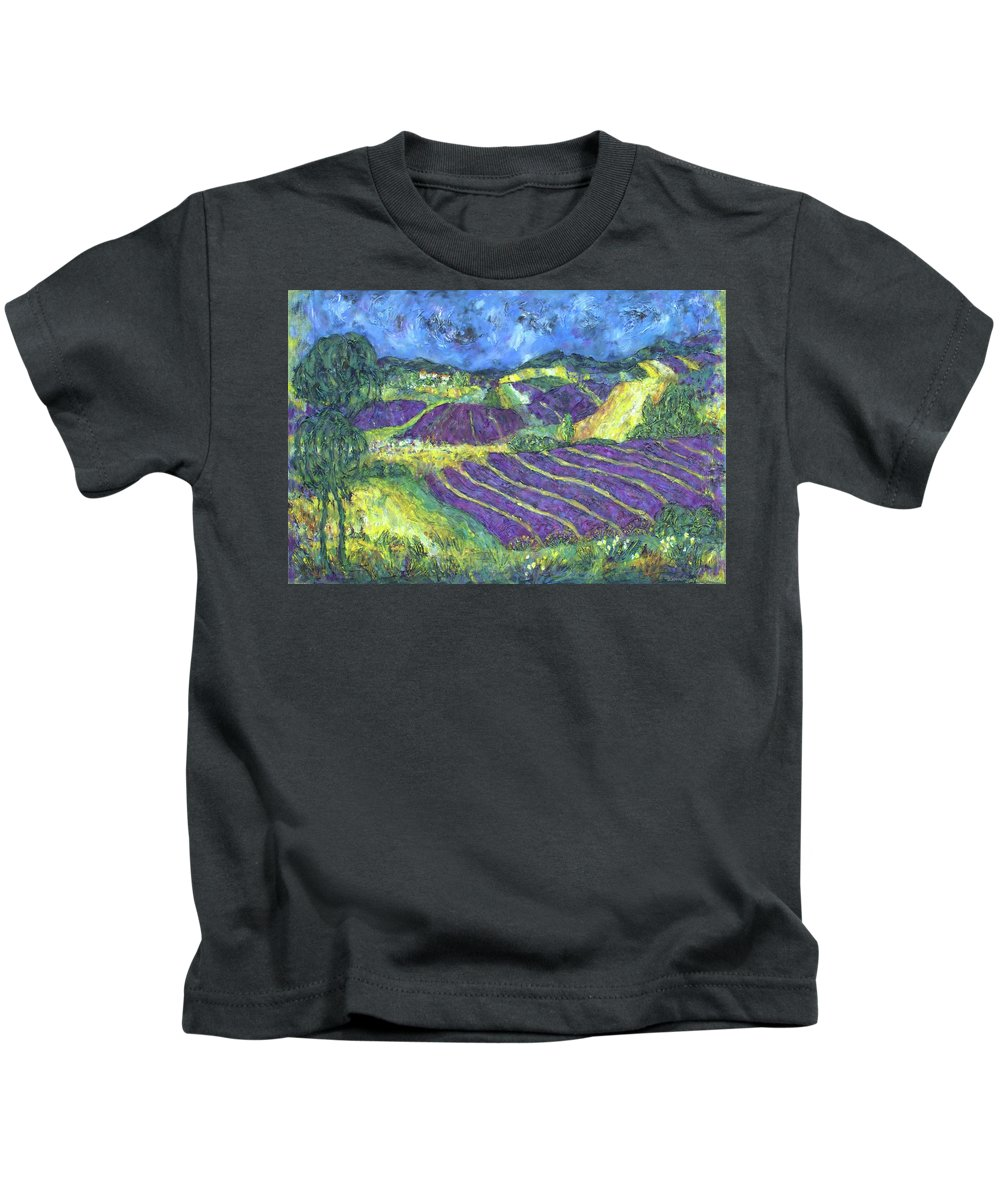 Limited Edition Of Print Of Original Art Painting Kids T-Shirt featuring the painting When Lavand Blooms by Marcela Levinska