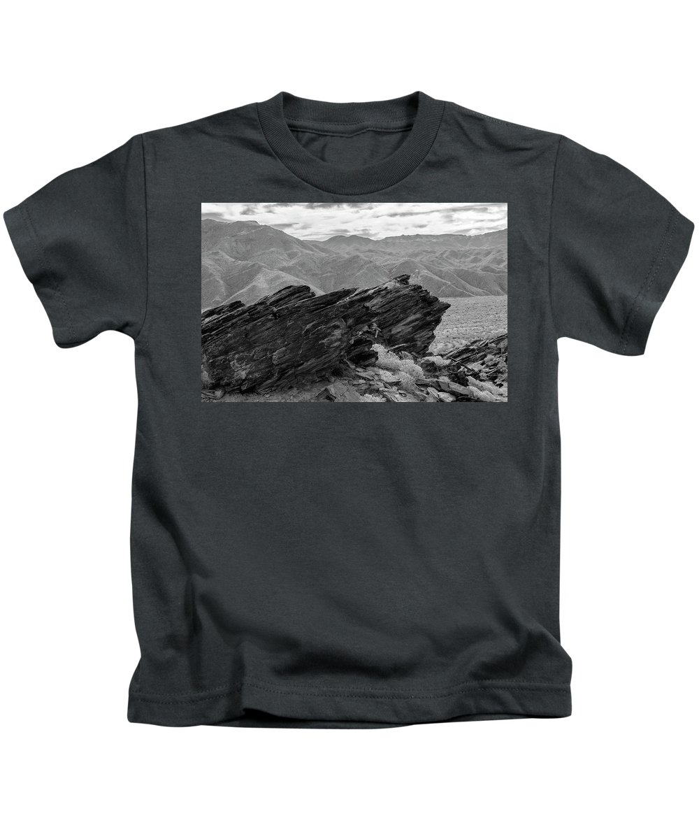 Rock Formation Kids T-Shirt featuring the photograph Where Andreas Meets Murray Bw 1 by Scott Campbell