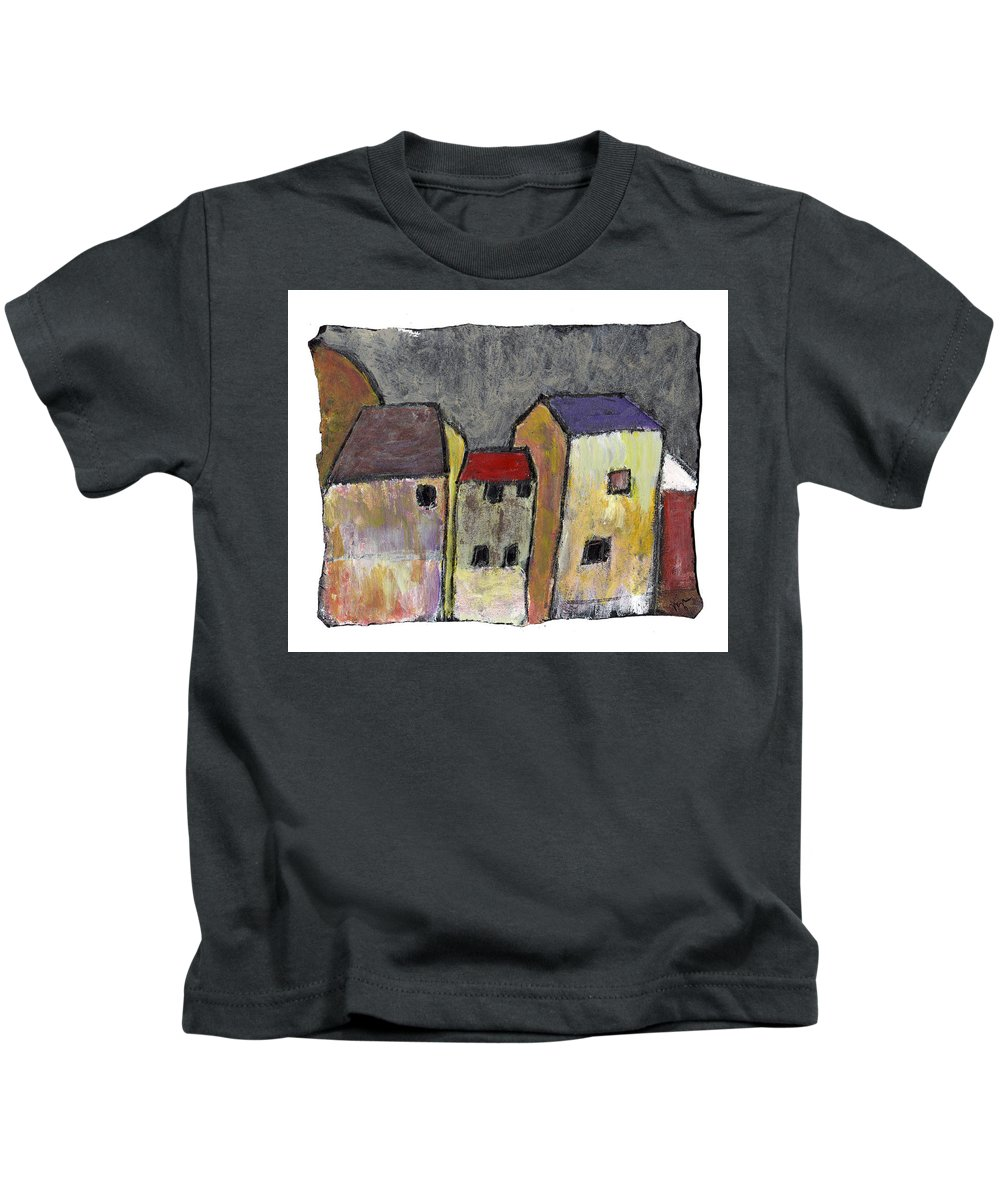 Buildings Kids T-Shirt featuring the painting Where Once There Was by Wayne Potrafka