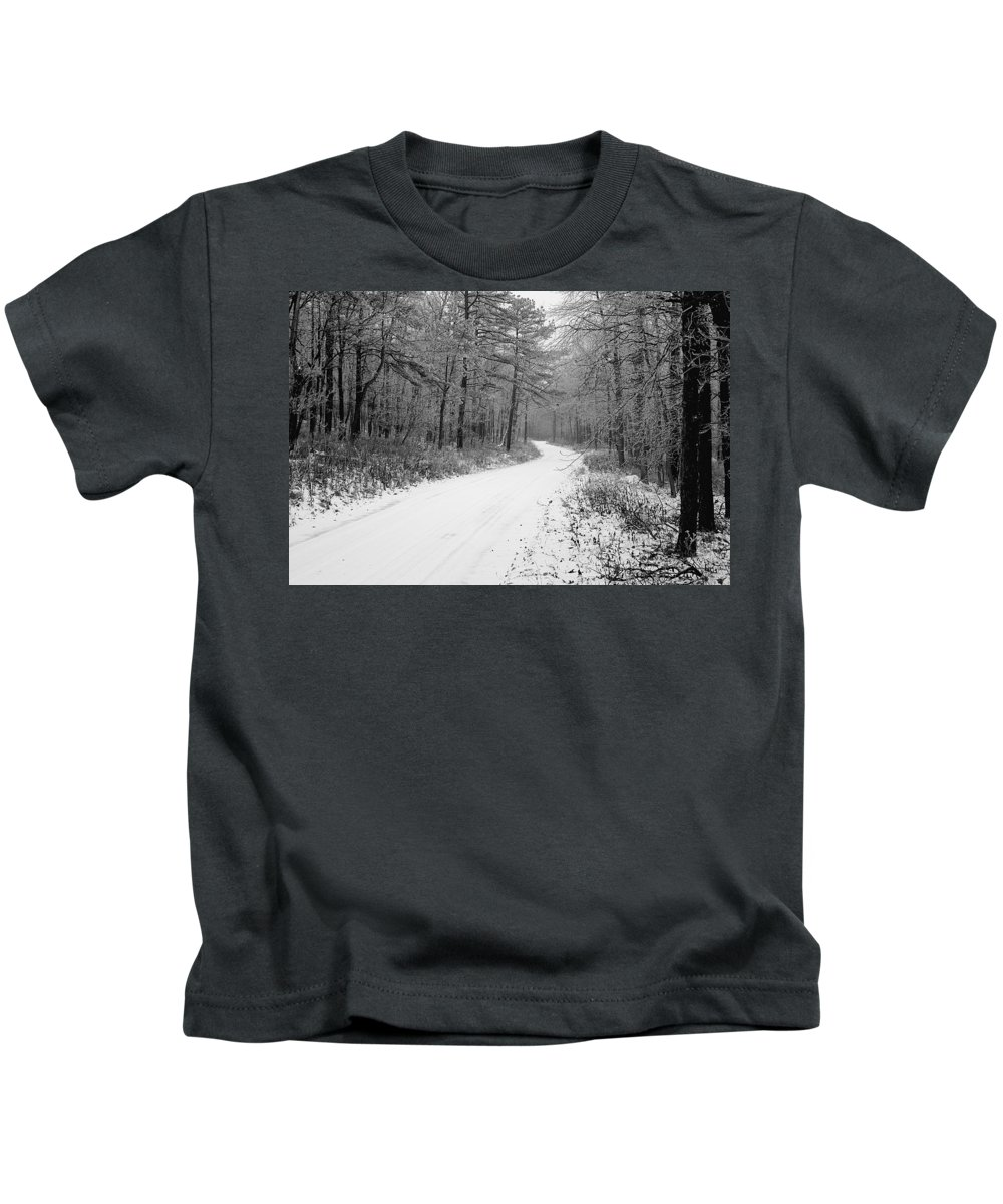 Winter Kids T-Shirt featuring the photograph Where Will It Lead by Jean Macaluso
