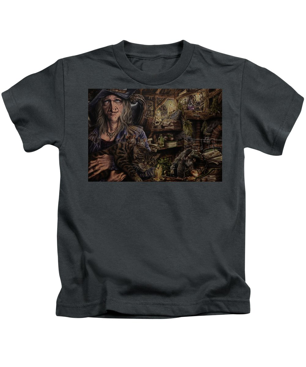 Fantasy Kids T-Shirt featuring the painting Which witch is which by Robert Haasdijk
