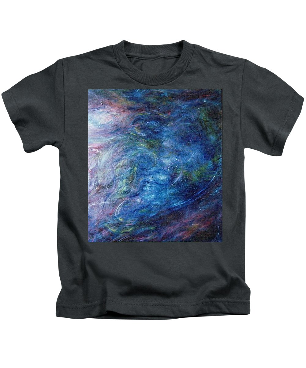 Abstract Kids T-Shirt featuring the painting Whispers In A Sea Of Blue by Nancy Mueller