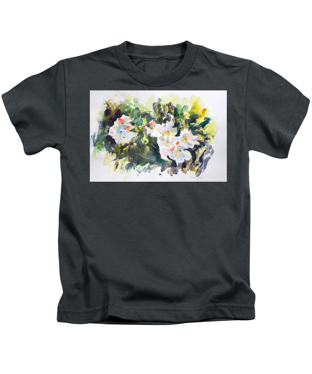 White Flowers Kids T-Shirt featuring the painting White Flowers by Ibolya Taligas