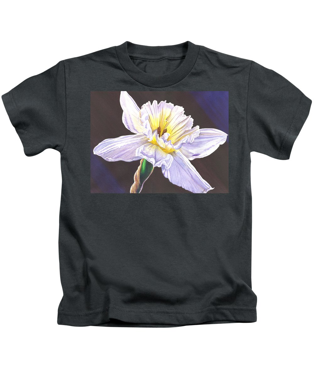 Daffodil Kids T-Shirt featuring the painting White Jonquil by Catherine G McElroy