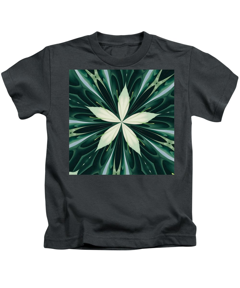 Mandala Kids T-Shirt featuring the digital art White Leaves In A Green Forest Kaleidoscope by Taiche Acrylic Art