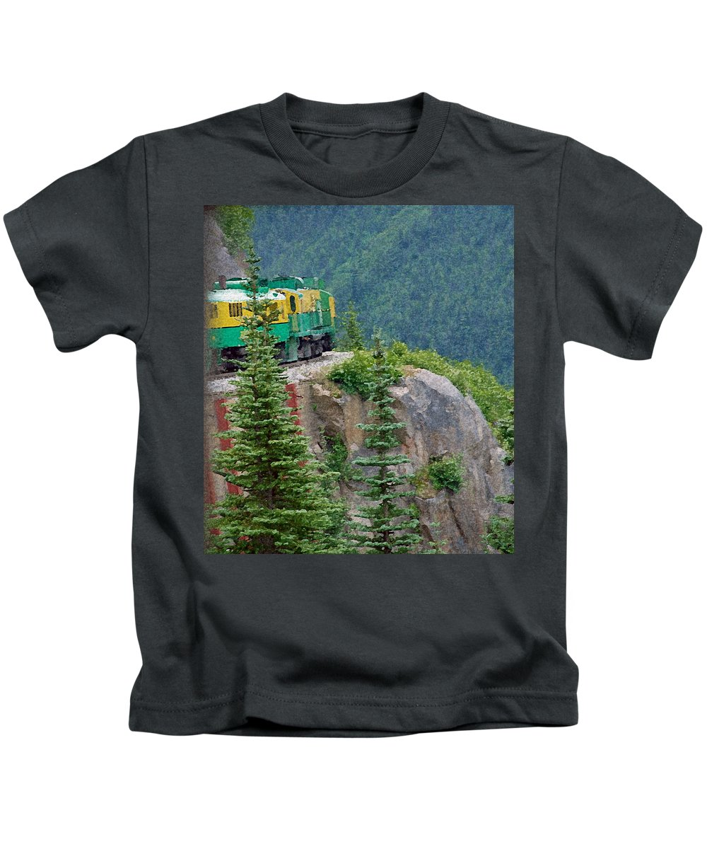 Train Kids T-Shirt featuring the photograph White Pass Train Alaska - Canada by Carol Eliassen