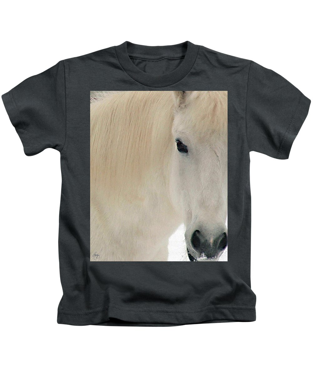 White Pony Kids T-Shirt featuring the photograph White Pony In Profile by Wayne King
