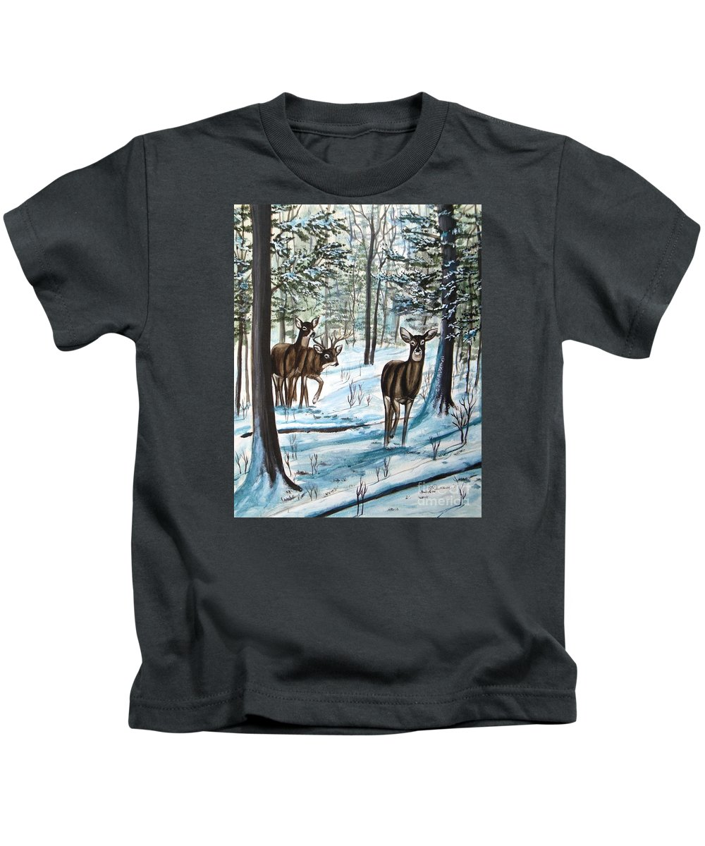 Deer Kids T-Shirt featuring the painting White Tail Deer In Winter by Patricia L Davidson