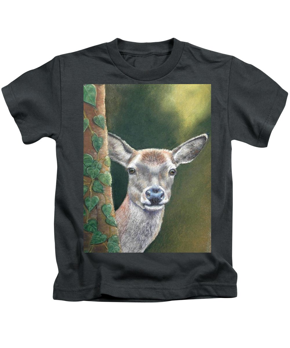 Rainforest Kids T-Shirt featuring the painting White Tail Doe At Ancon Hill by Ceci Watson