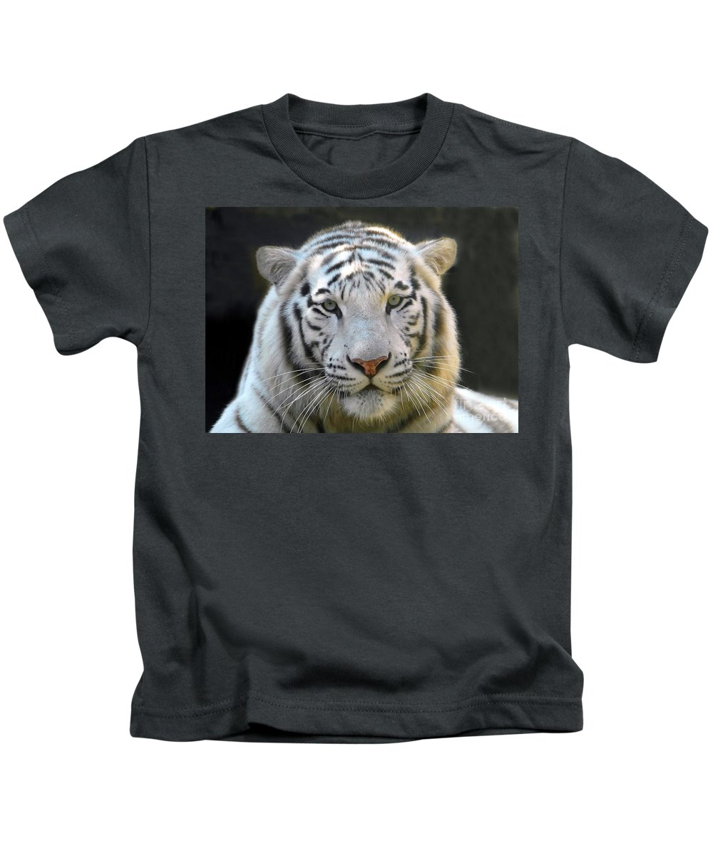 White Tiger Kids T-Shirt featuring the photograph White Tiger by David Lee Thompson