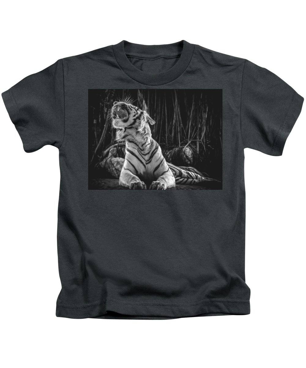 Black And White Kids T-Shirt featuring the photograph White Tiger. Growl. by Iliya Vasyutovich