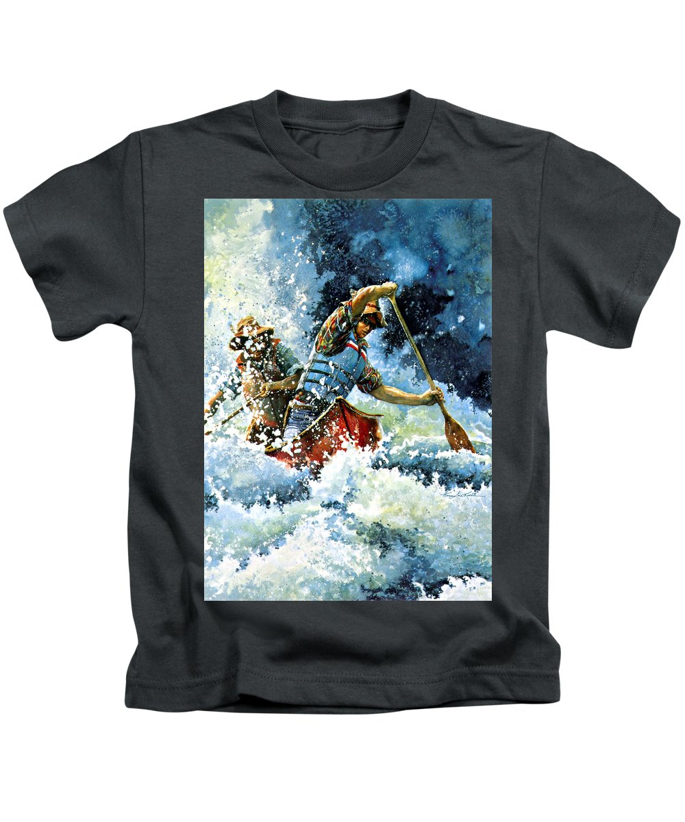 Sports Artist Kids T-Shirt featuring the painting White Water by Hanne Lore Koehler