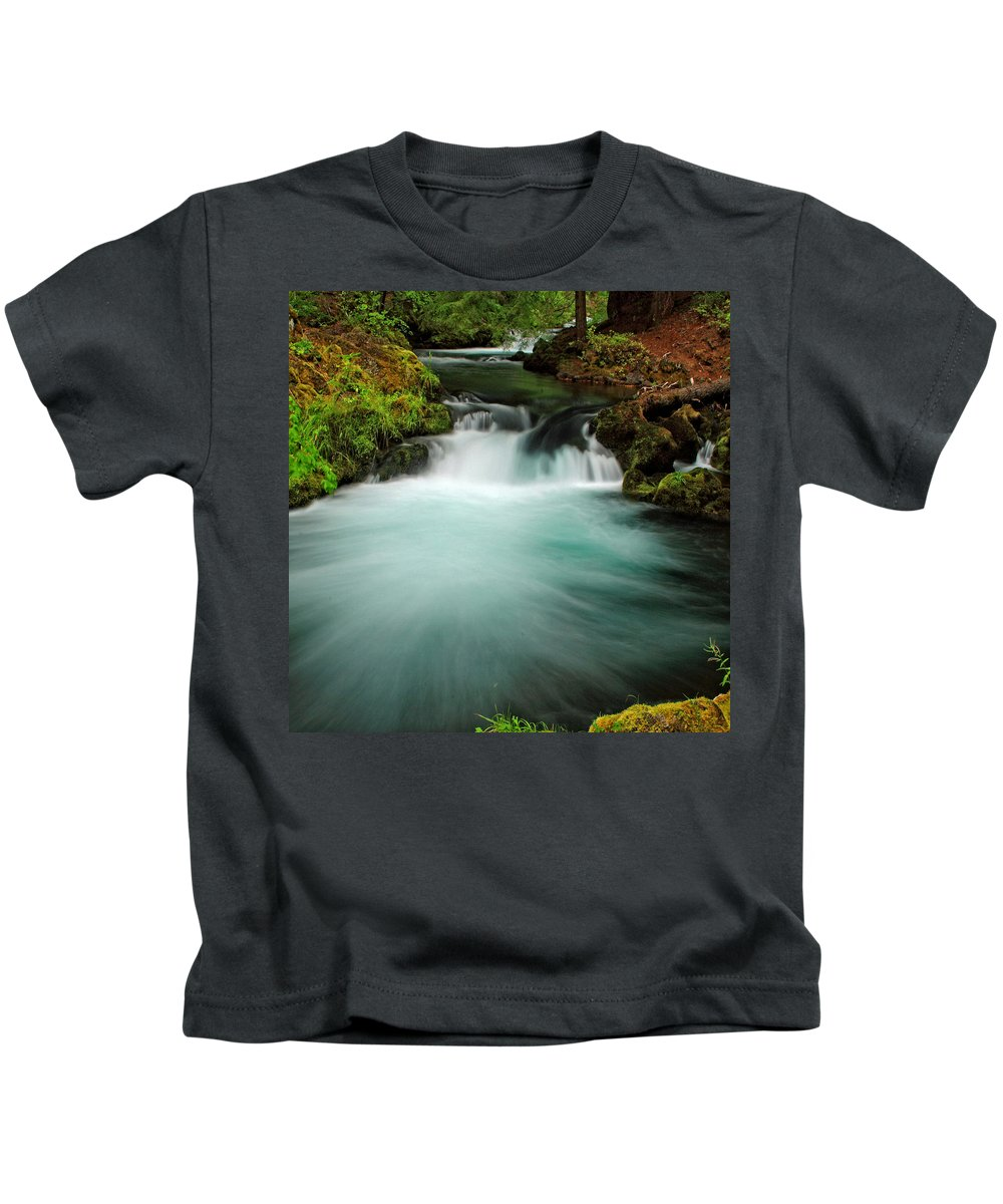 Columbia Gorge Kids T-Shirt featuring the photograph Whitehorse Falls 3 by Ingrid Smith-Johnsen
