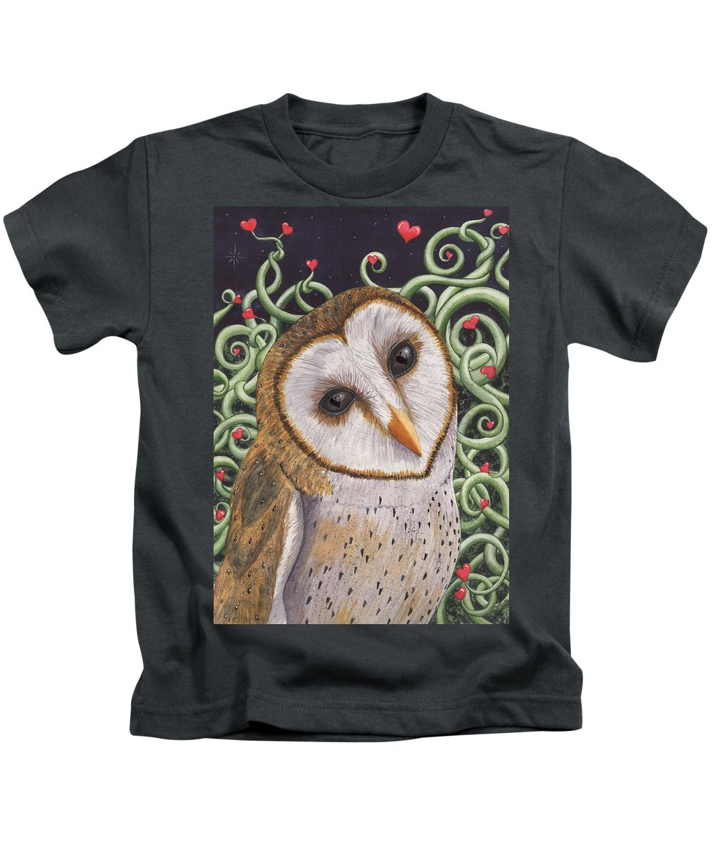 Owl Kids T-Shirt featuring the painting Who do you love ? by Catherine G McElroy