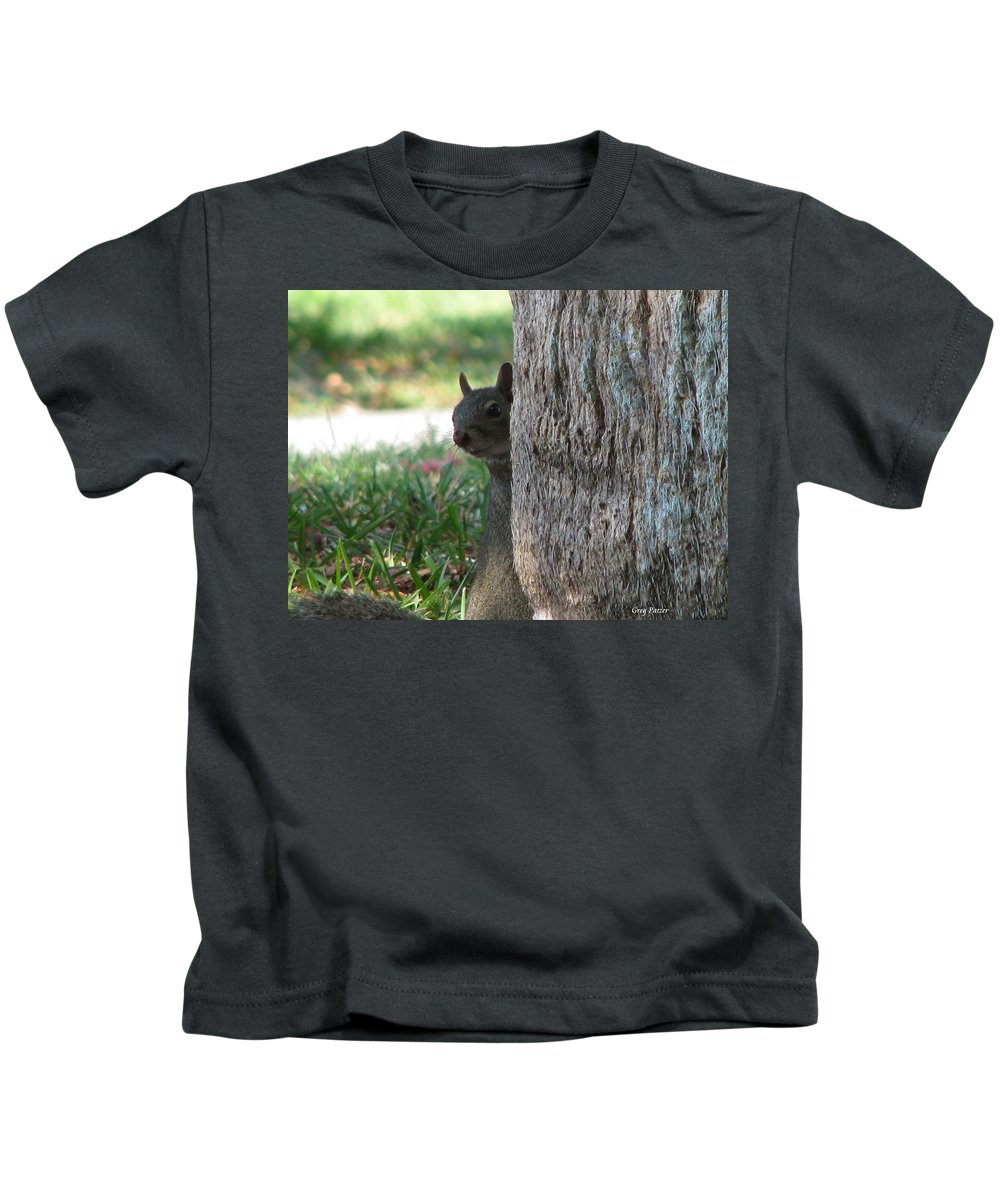 Patzer Kids T-Shirt featuring the photograph Who Me by Greg Patzer