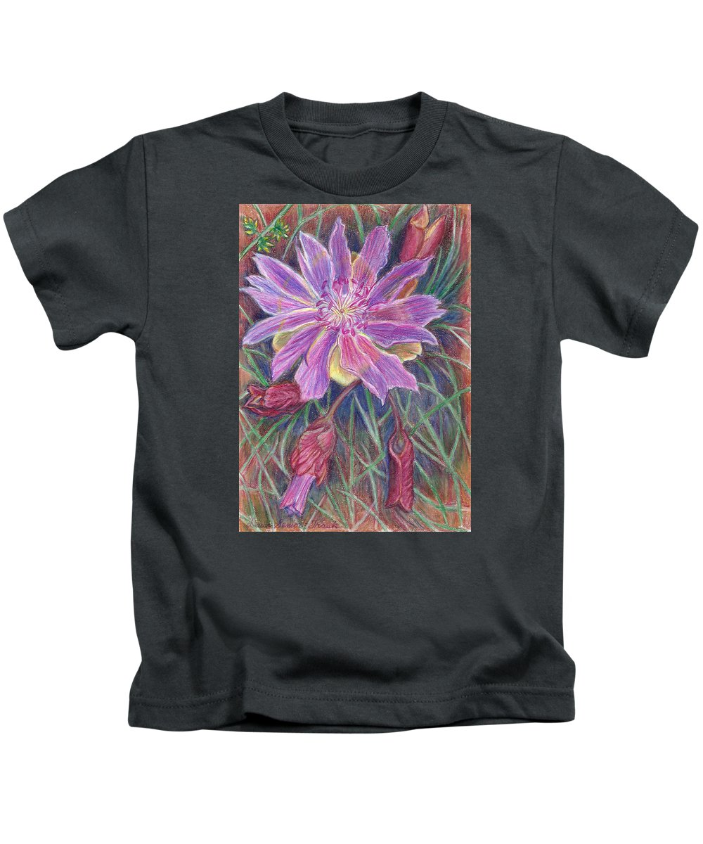 Floral Kids T-Shirt featuring the drawing Wild Bitterroot Flower by Dawn Senior-Trask