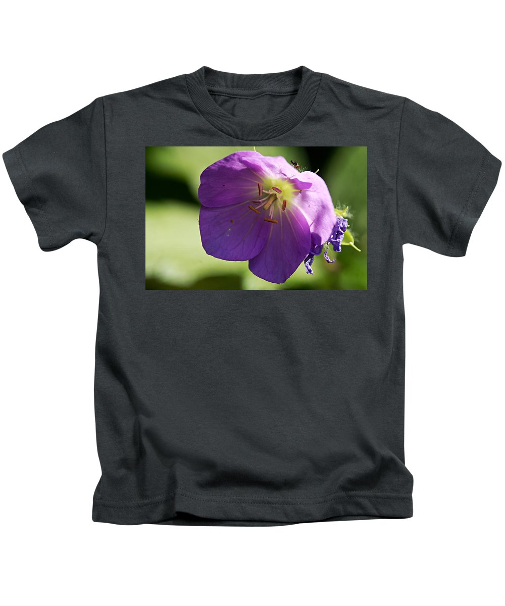 Geranium Kids T-Shirt featuring the photograph Wild Geranium by Larry Ricker