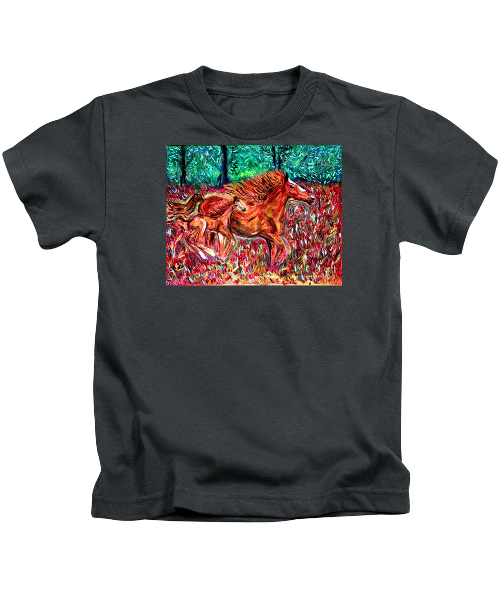 Horses Kids T-Shirt featuring the painting Wild Horses by Debbie Davidsohn