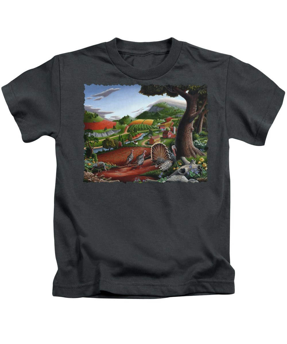 Wild Turkey Kids T-Shirt featuring the painting Wild Turkeys Appalachian Thanksgiving Landscape - Childhood Memories - Country Life - Americana by Walt Curlee