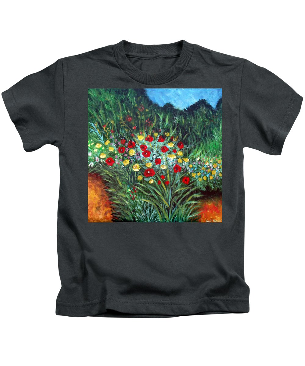 Abstract Kids T-Shirt featuring the painting Wildflower Garden 1 by Nancy Mueller