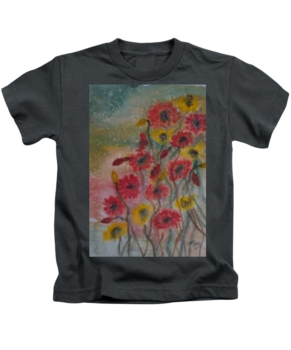 Watercolor Kids T-Shirt featuring the painting Wildflowers Still Life Modern Print by Derek Mccrea
