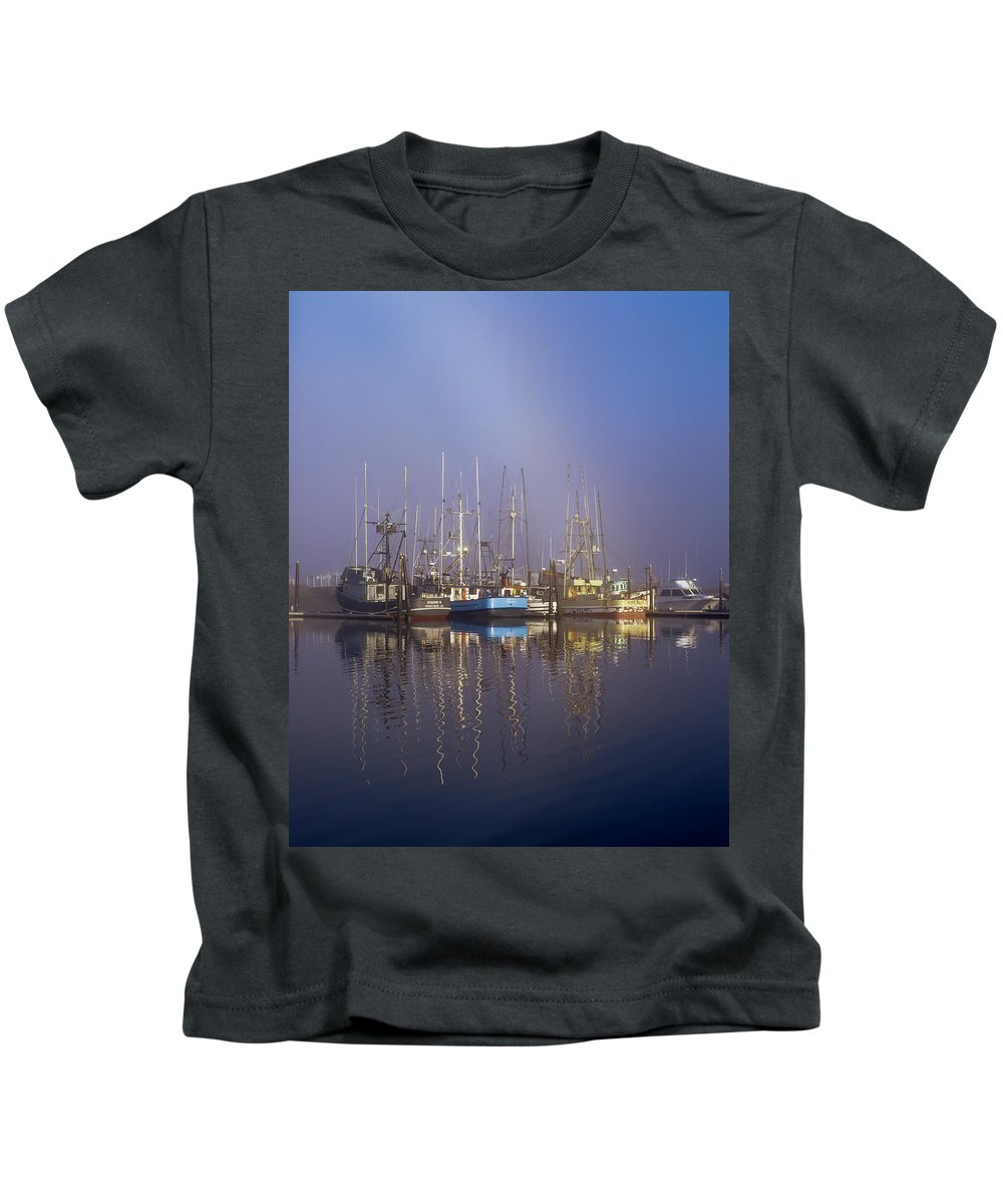 Boats Kids T-Shirt featuring the photograph Winchester Bay Fishing Boats by Robert Potts