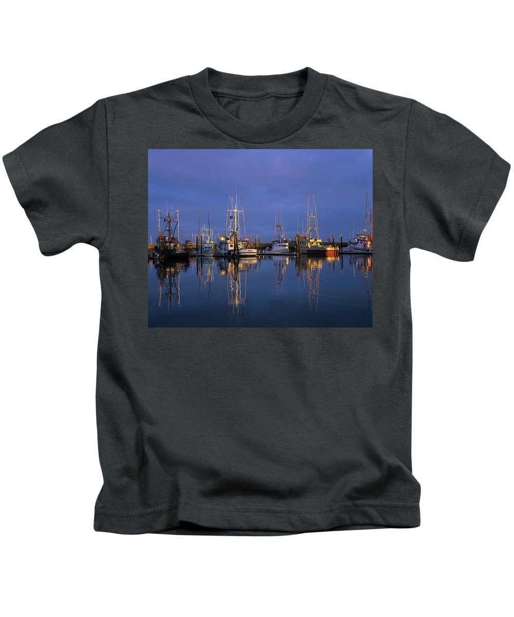 Boats Kids T-Shirt featuring the photograph Winchester Bay Reflections by Robert Potts
