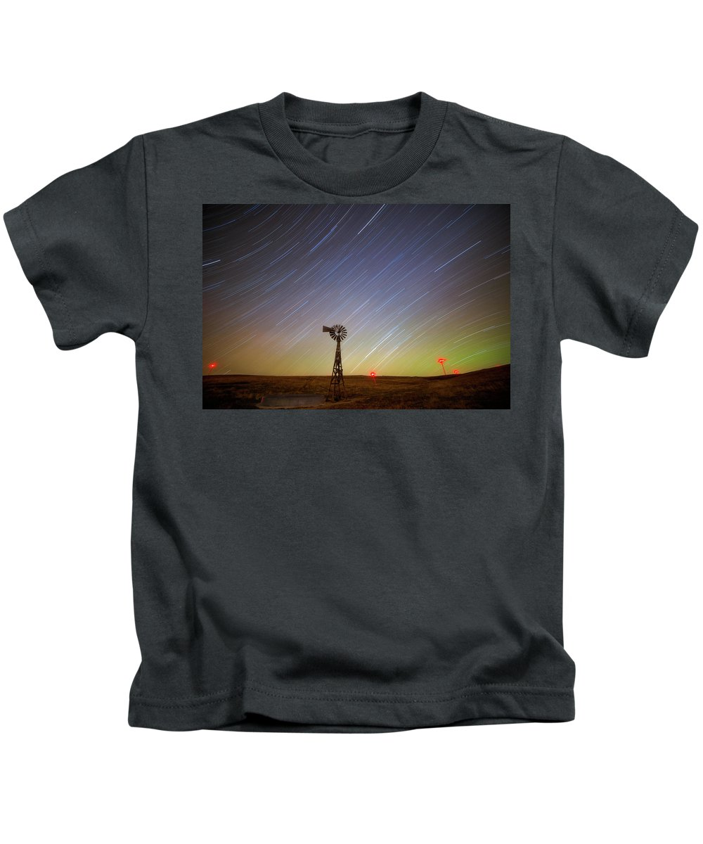 Windmills Kids T-Shirt featuring the photograph Windmills And Stars by Darren White