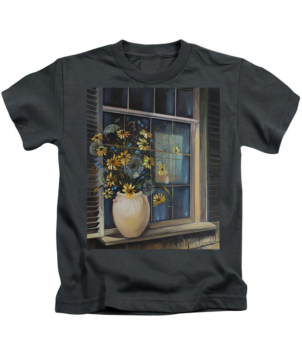 Wild Flowers Kids T-Shirt featuring the painting Window Dressing - Lmj by Ruth Kamenev