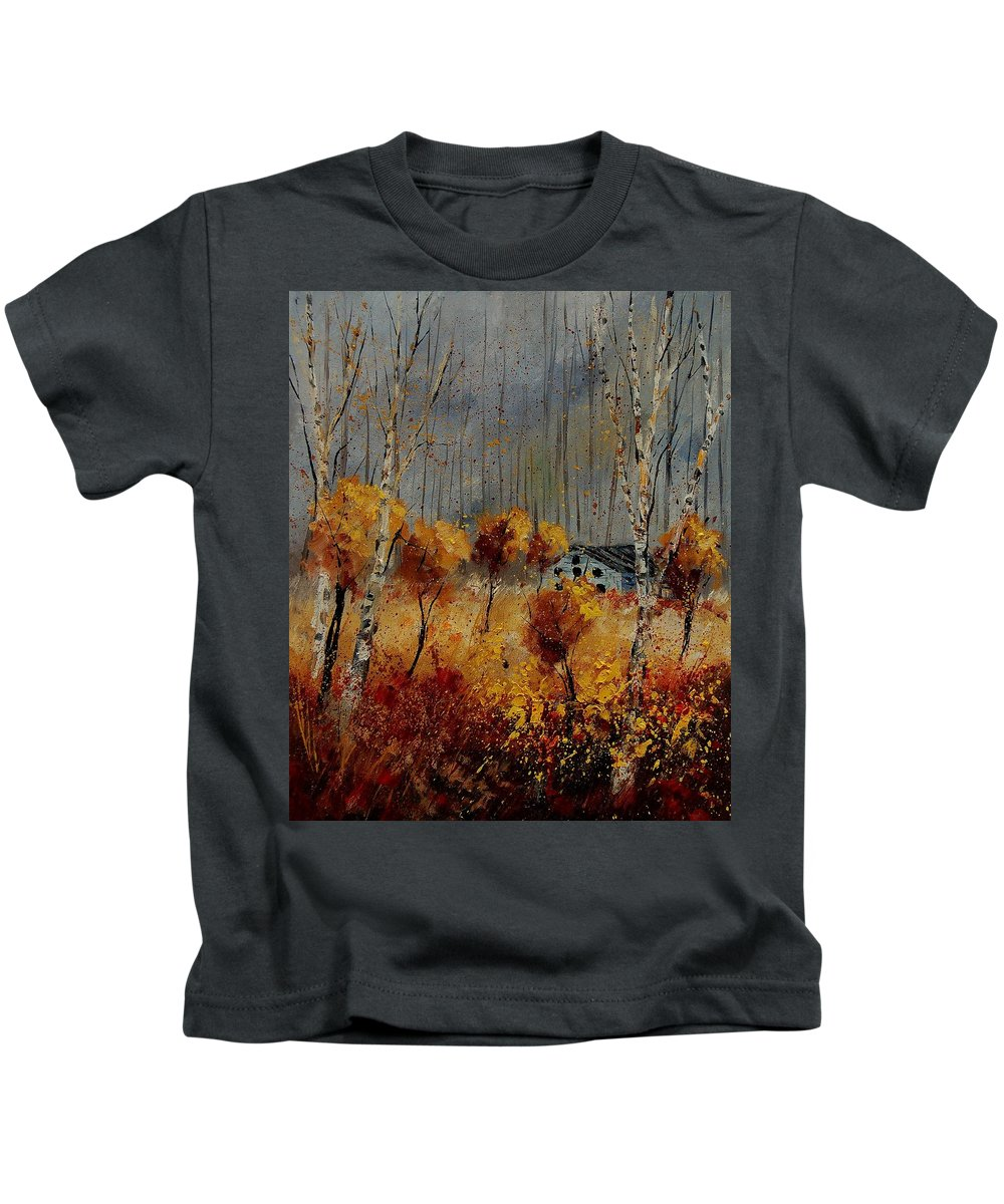 Tree Kids T-Shirt featuring the painting Windy Autumn Landscape by Pol Ledent