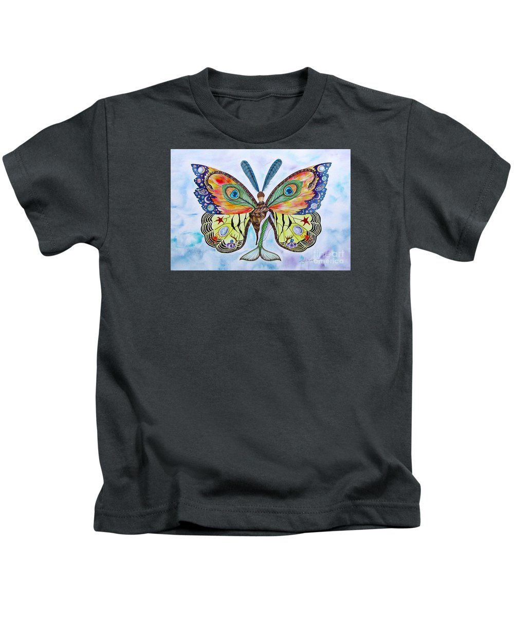 Butterfly Kids T-Shirt featuring the painting Winged Metamorphosis by Lucy Arnold